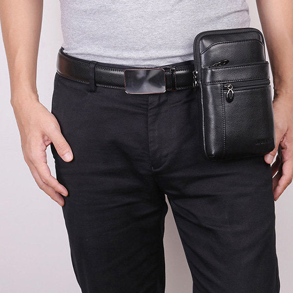 Genuine Leather Business Casual Multi-functional 7 Inch Phone Bag Waist Bag Crossbody Bag For Men