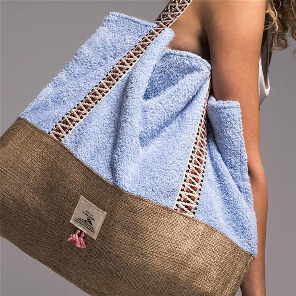 Women Towel Fabric Tote Beach Bags Large Capacity Shoulder Bags