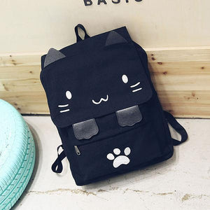 Women Canvas Cute Black Cat Backpack Shoulder Bag Rucksack Chic Bag