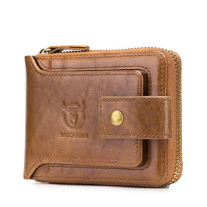 Men RFID Antimagnetic Solid Cowhide 11 Card Slots Coin Bag Zipper Wallet