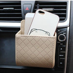 Auto Air Vent Car Storage Bag Multi-functional Pu Phone Bag Ditty Bag