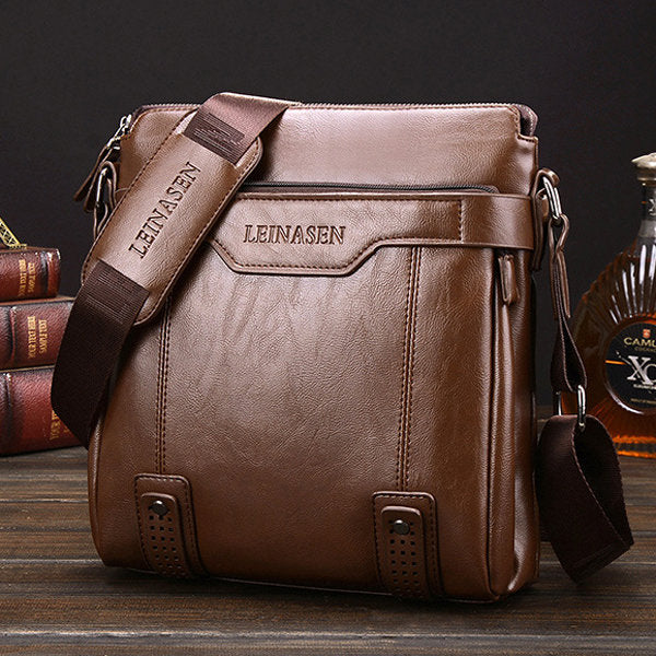 Men Business Vintage Multi-pocket Comfortable  Leather Shoulder Bags Crossbody Bags