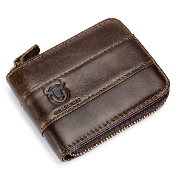 RFID Antimagnetic Vintage Genuine Leather Card Holder Trifold Wallet For Men