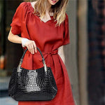 Women Vintage Crocodile Leather Elegant Shoulder