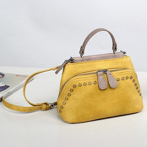Women Shell Casual Faux Leather Crossbody Bags Rivet Solid Handbags