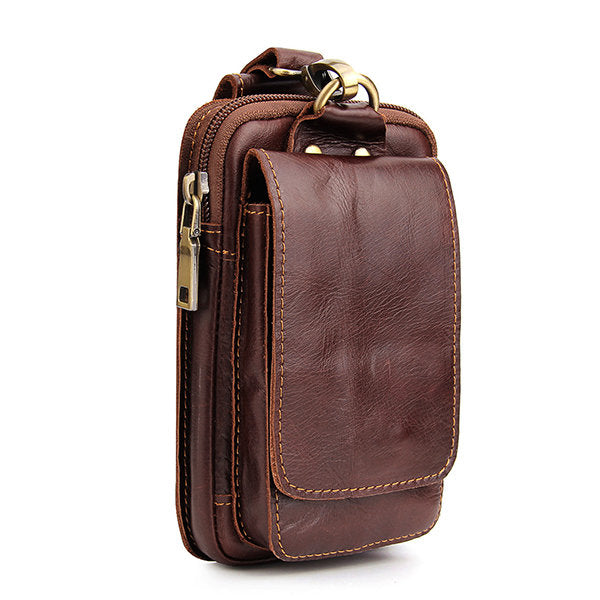 Genuine Leather Mobile Phone Camera 6 Inches Outdoor Waist Bag For Men