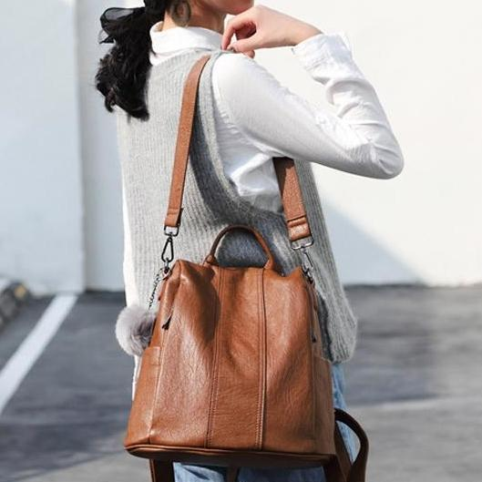Soft Leather Tote Casual Backpack