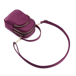 Women Nylon Waterproof Multi- Slot Solid Crossbody Bag Mini Portable Phone Bag