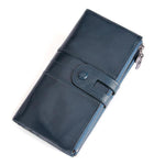 Women Men Genuine Leather Pure Color Vintage Card Holder Multi-slots Long Wallet Purse