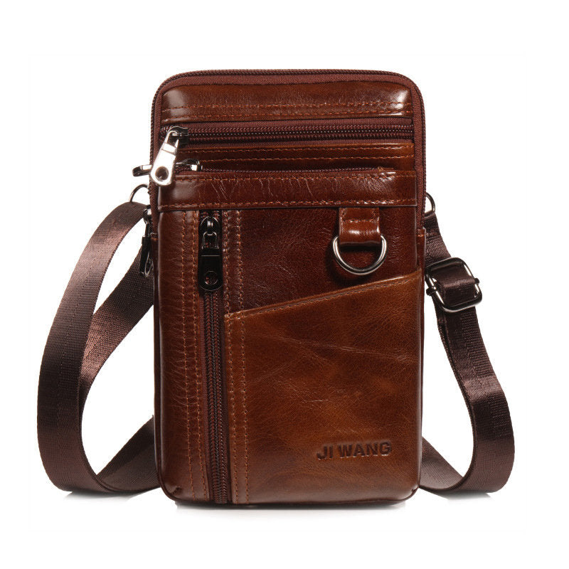 Cowhide Multi-function Waist Bag Vintage Crossbody Bag For Men
