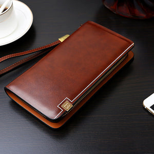 Pu Leather Clutch Bag Business 8 Card Slots Wallet Phone Bag For Men