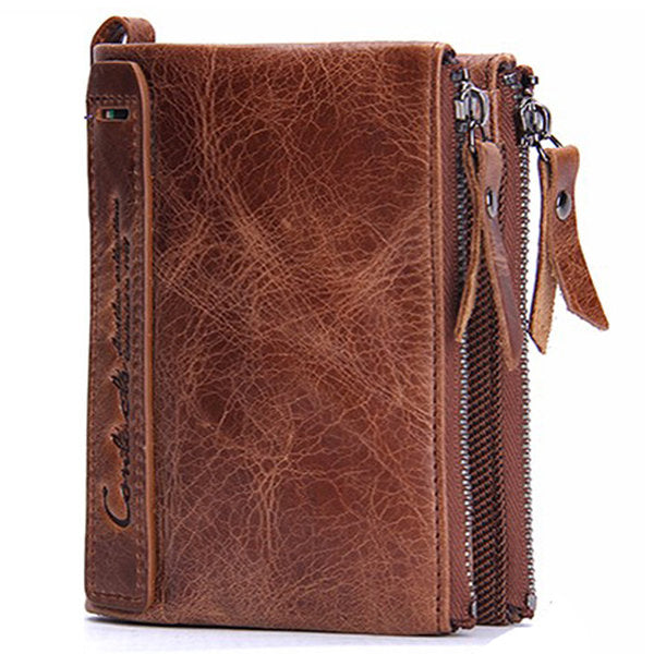 Men Genuine Leather Zipper Short Wallet Folding Totes Card Holders Bags