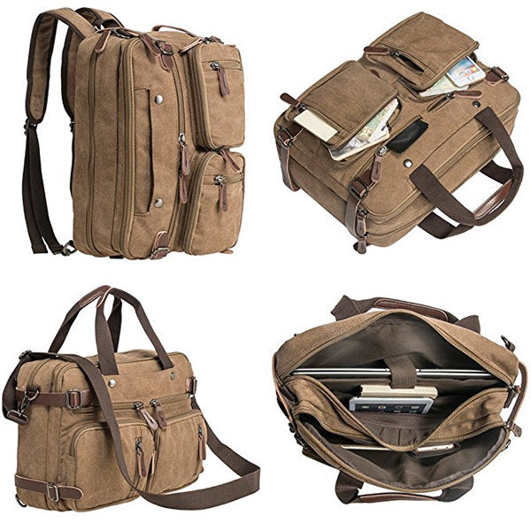 Ekphero Multi Use Canvas Crossbody Bag Multi Pocket Solid Backpack Handbag For Men