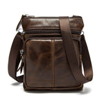 Men Genuine Leather Crossbody Bag Cowhide Leather Business Vintage Shoulder Bag