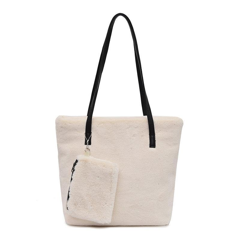 Women Solid 2 PCS Suede Large Capacity Tote Bag