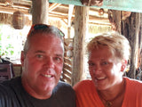 Scott and Brigitte having a docktails at the bar at Guanabanas Restaurant and Bar in Jupiter Florida