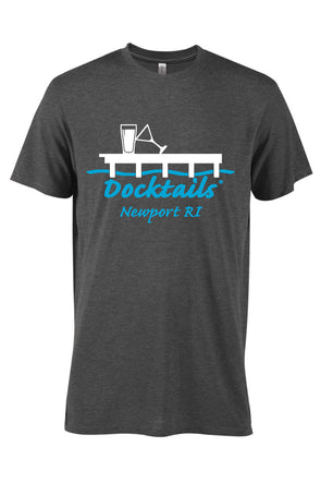 Docktails Guys T-Shirt in Charcoal Heather with Newport Rhode Island logo, one of our favorite docktails spots