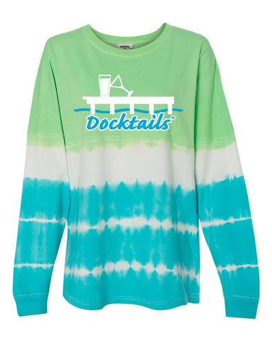 Ladies Game Day Green and Blue Tie Dye Long Sleeve Shirt, our go-to shirt for dockside drinks when there's a chill in the air