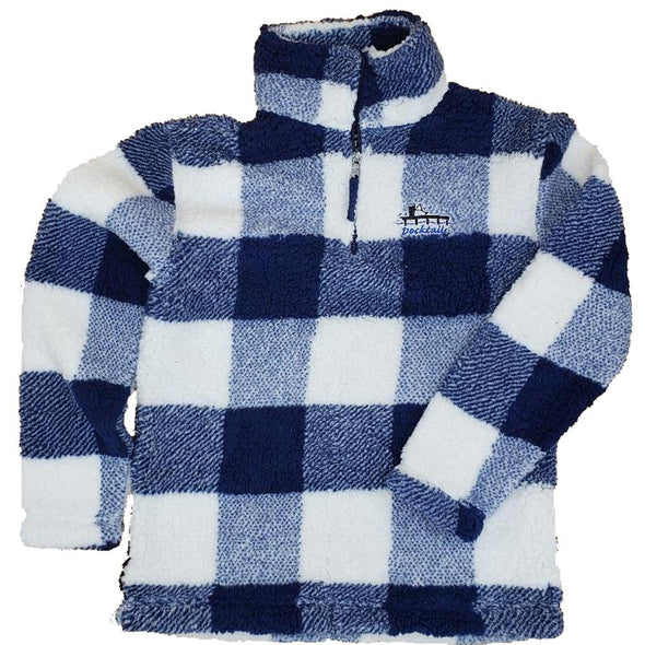 Docktails Sherpa Quarter Zip Pullover in Navy/Natural Buffalo Plaid