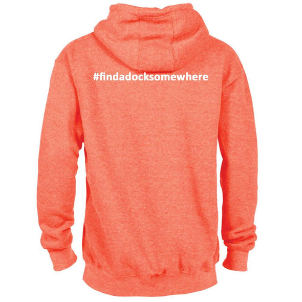 Docktails Unisex Pullover Hoodie in Sunset Orange, perfect for clam shacks and sunset docktails everywhere