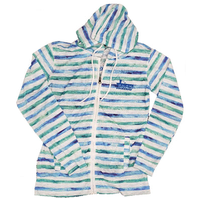 Docktails Women's Sea Glass Stripe Zip Hoodie, perfect for collecting sea glass while sipping on your favorite cocktail