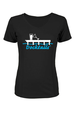 Docktails Ladies Short Sleeve T-Shirt in Black, the perfect tee for beach bars and dockside pubs