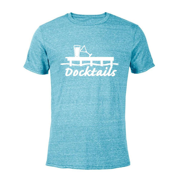 Docktails Men's Semi-Fitted Tee in Aqua Heather, perfect for your beach bar and dock pub adventures