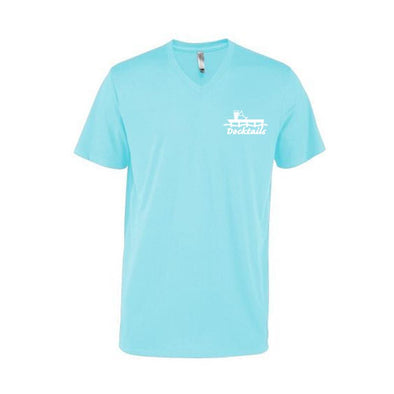Docktails Men's V-Neck Tee in Ocean, designed for slightly more formal dockside dining