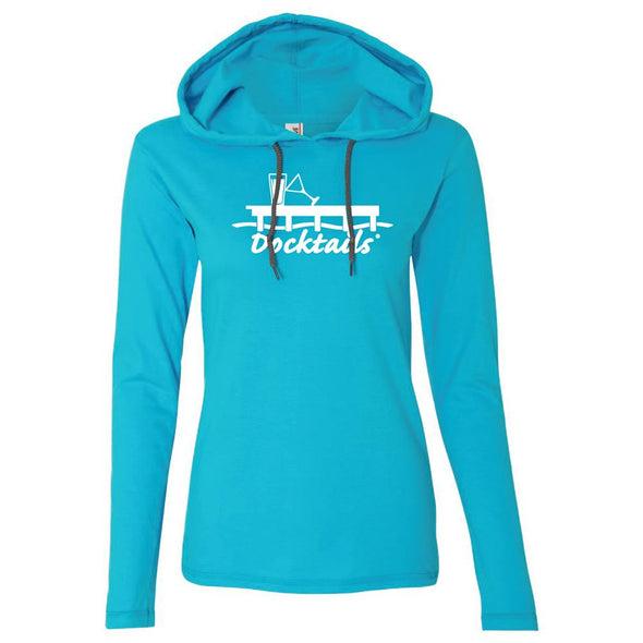 Docktails Women's Long Sleeve Hoodie Tee in Caribbean Blue, perfect for beach bars and other waterfront dining with a cool ocean breeze