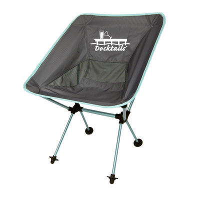 Docktails Joey Travel Chair in Ocean Blue, perfect for having drinks on your dock or at the beach