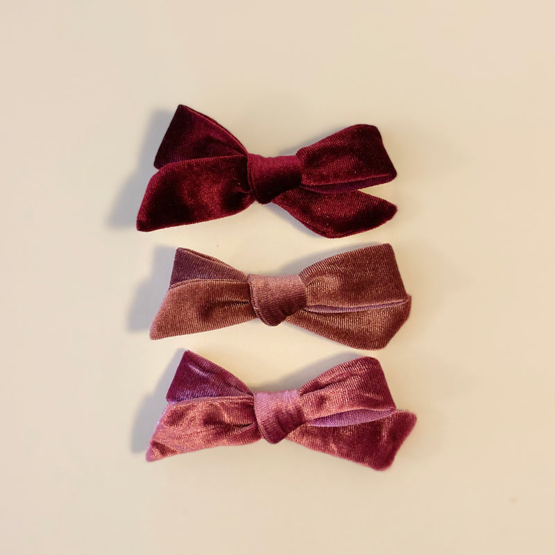 Velveteen Bow Hair Clips in Mulled Wine (Pack of 3)