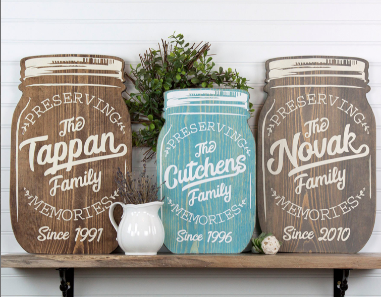 Mason Jar Family Memories Sign
