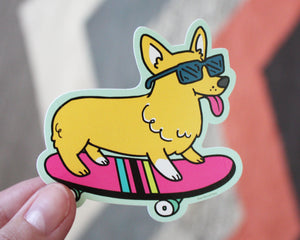 Skateboarding Corgi Vinyl Decal Sticker