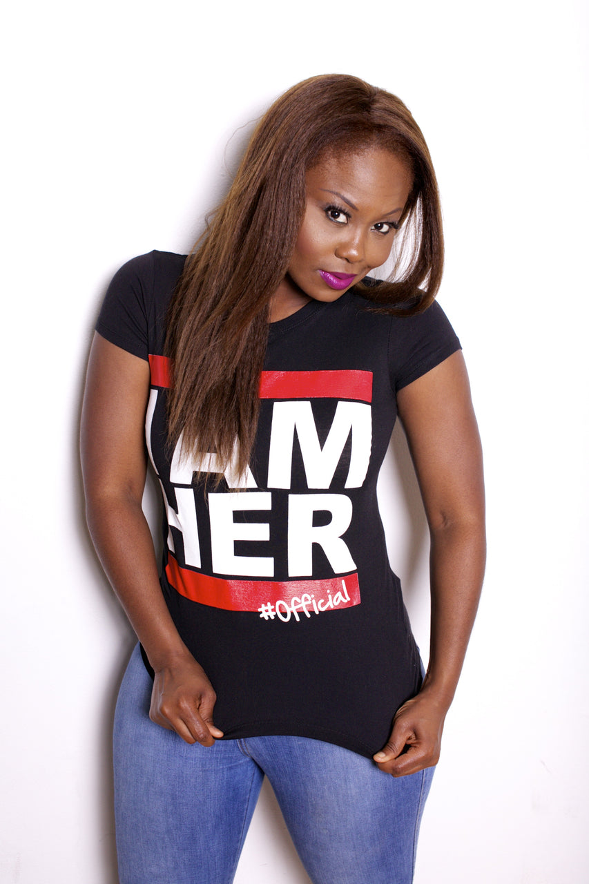 I AM HER #Official - Women's Statement Fitted Tee - Black