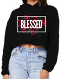 Blessed - Women's Cropped Fleece Hoodie - I AM HER Apparel, LLC