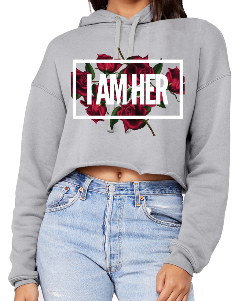 I AM HER... Statement Cropped Fleece Hoodie