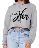 """I AM HER"" Signature Cropped Fleece Hoodie - Gray - I AM HER Apparel, LLC"