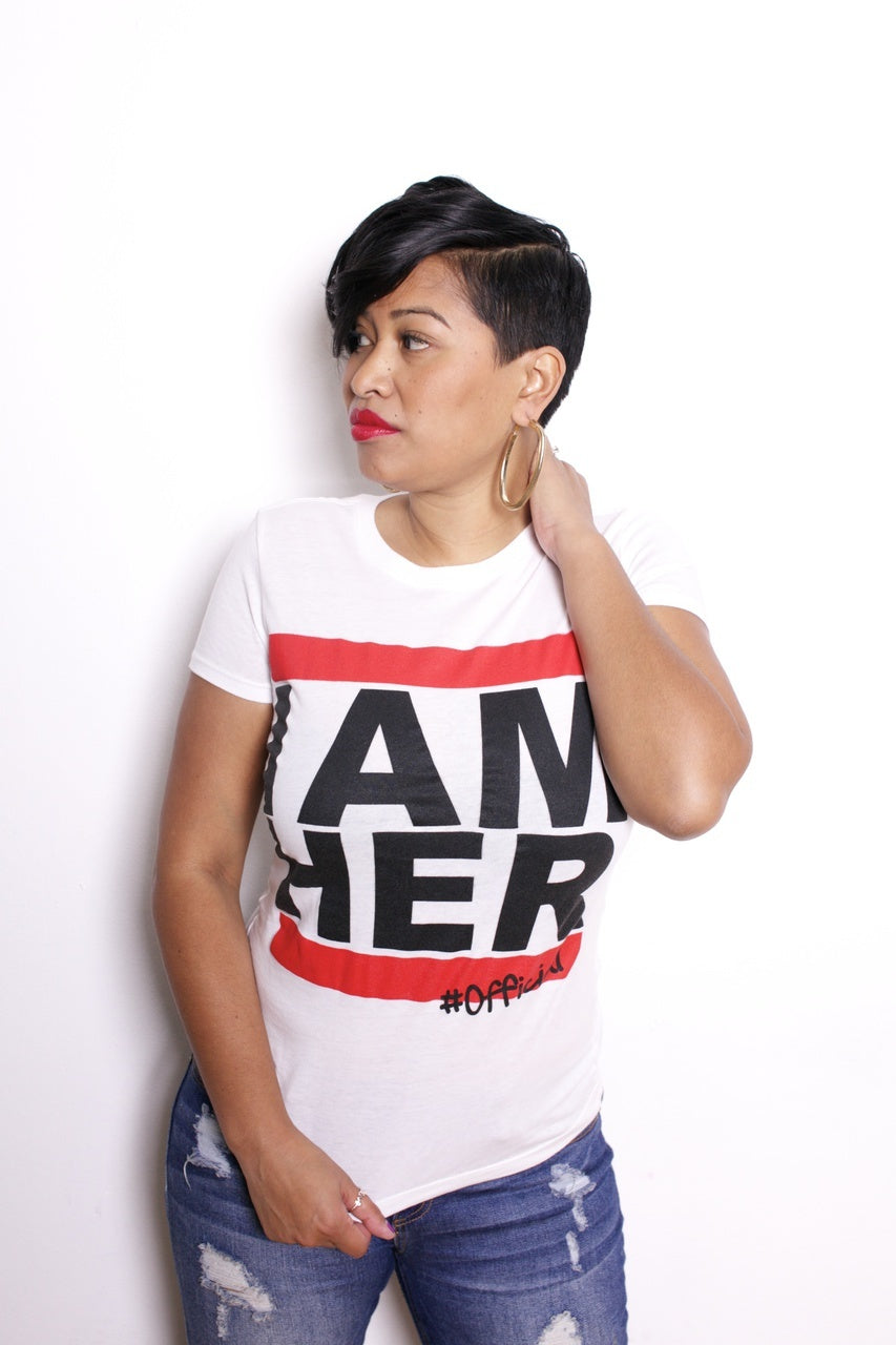 I AM HER #Official - Women's Statement Fitted Tee - White