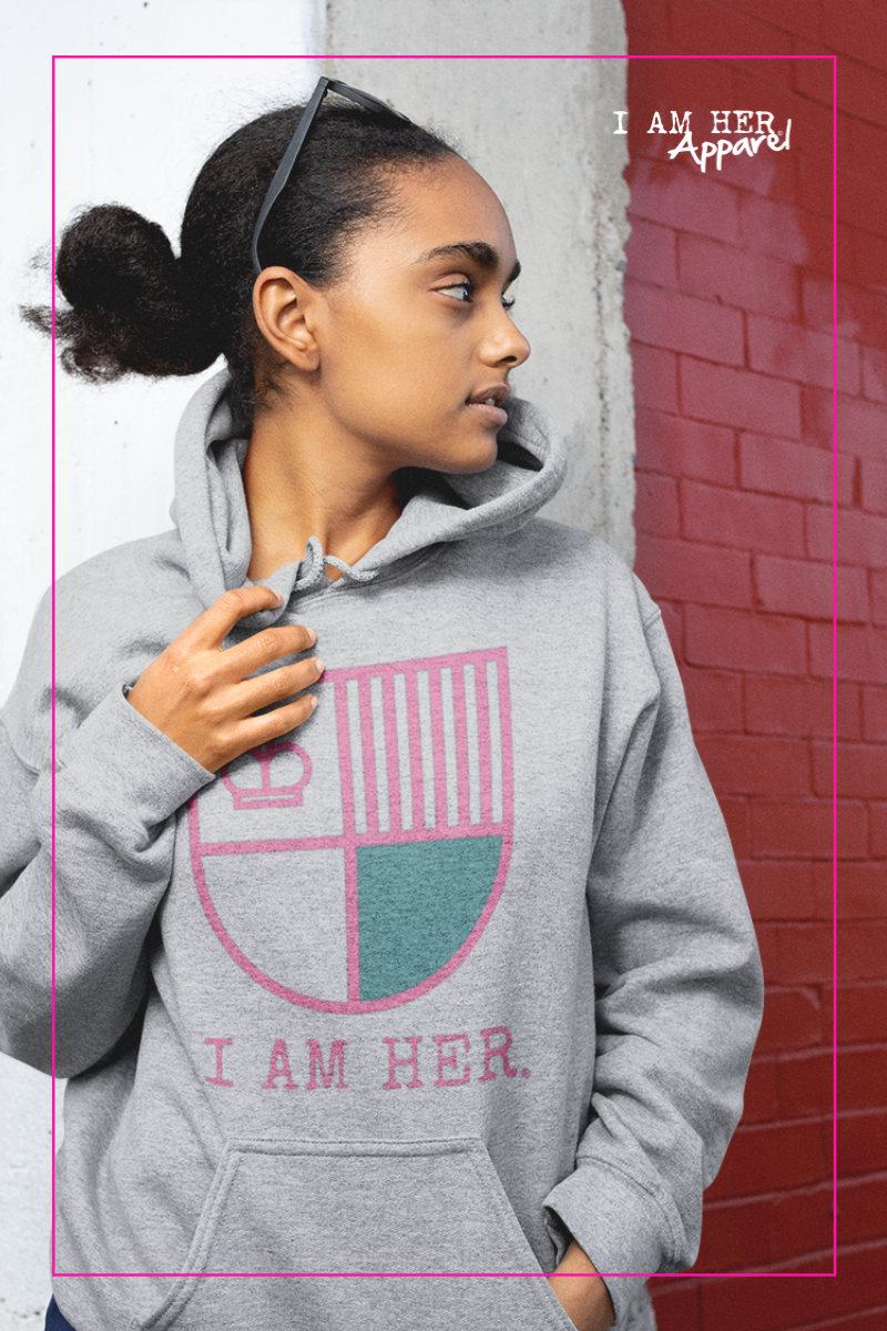 I AM HER Shield Women's Hooded Sweatshirt - Gray/Pink - I AM HER Apparel, LLC