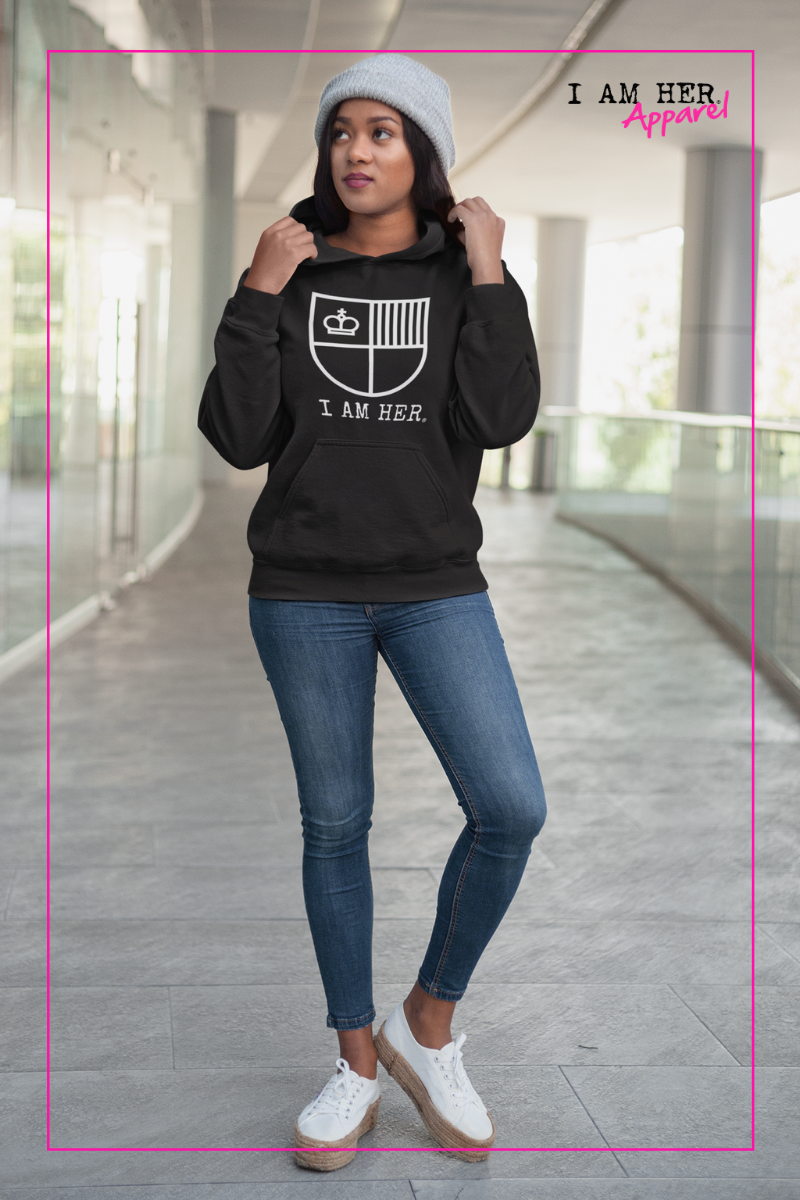 I AM HER Shield Women's Hooded Sweatshirt - I AM HER Apparel, LLC