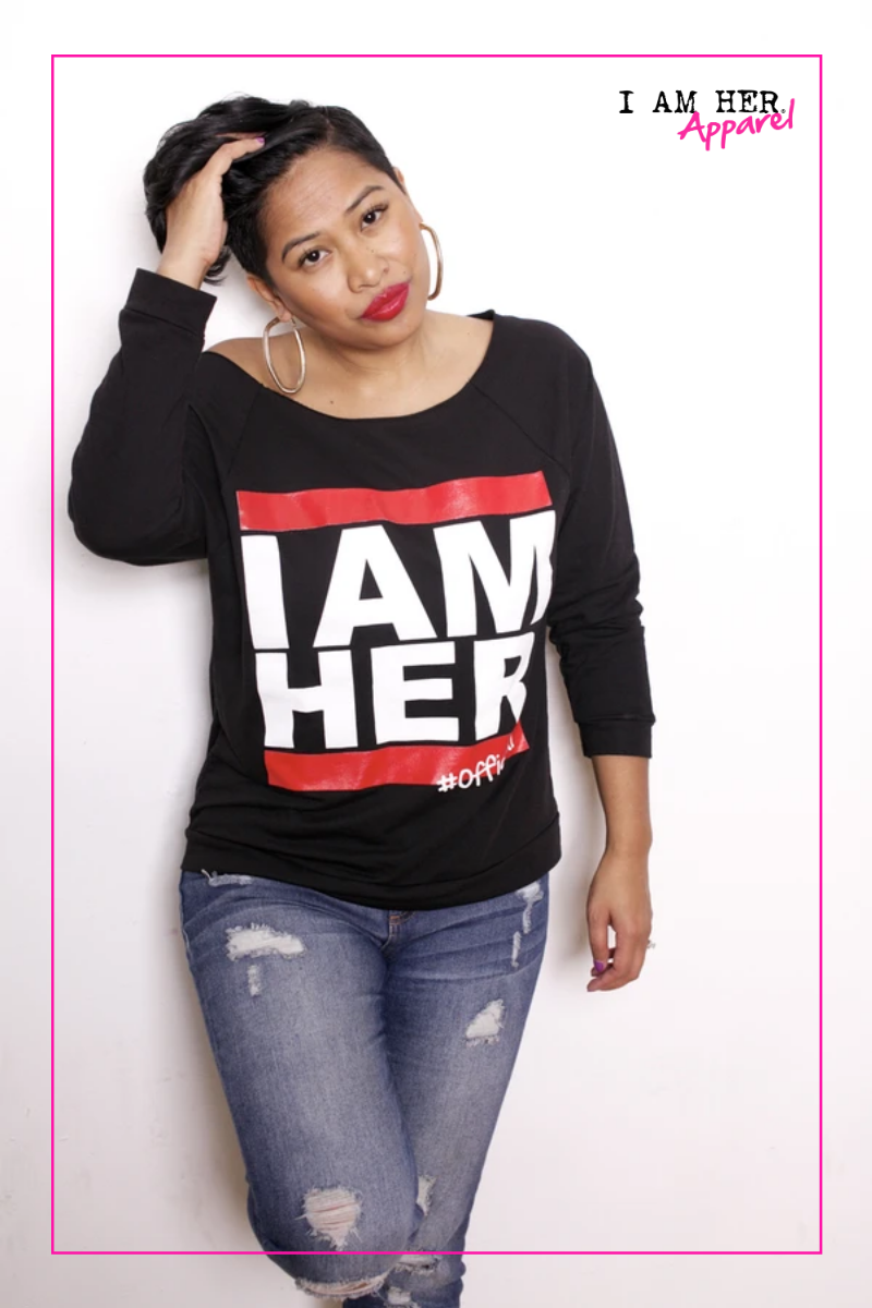 I AM HER Women's Wideneck Top - Black - I AM HER Apparel, LLC