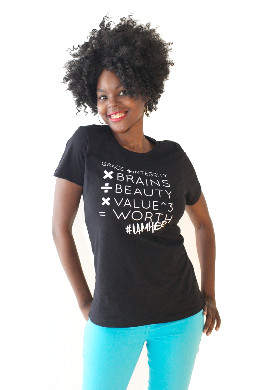 Female wearing black Women's Graphic Tee with saying, Grace + Integrity x Brains / Beauty x Value ^3 = Worth in white writing. Women's tees for the girl who understand her value and knows her worth.