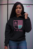 I AM HER Shield Women's Hooded Sweatshirt - Black/Pink - I AM HER Apparel, LLC
