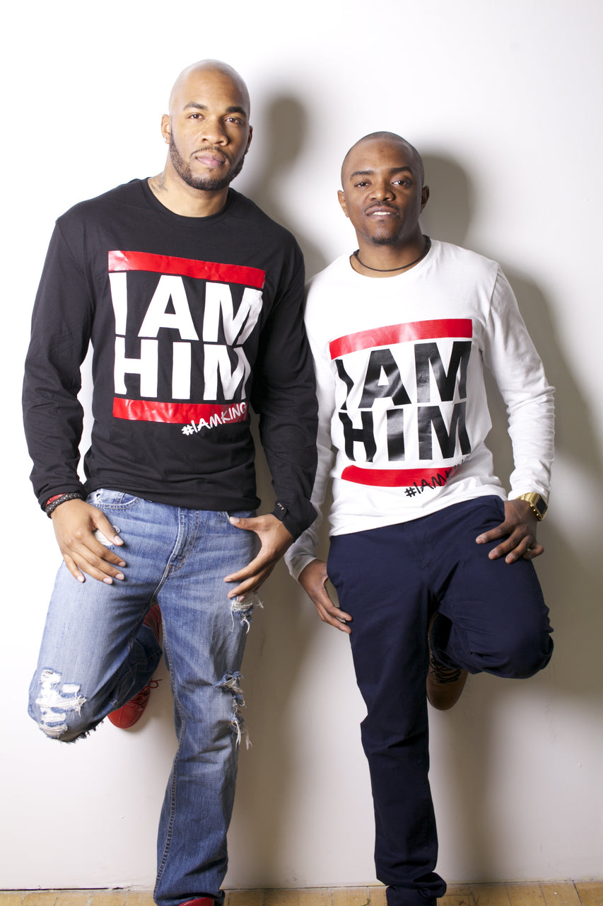 Two males wearing Longsleeve shirts with saying for men, I AM HIM. I AM KING. Longsleeve mens shirts for men who unapologetically shows up in the world with fashion.