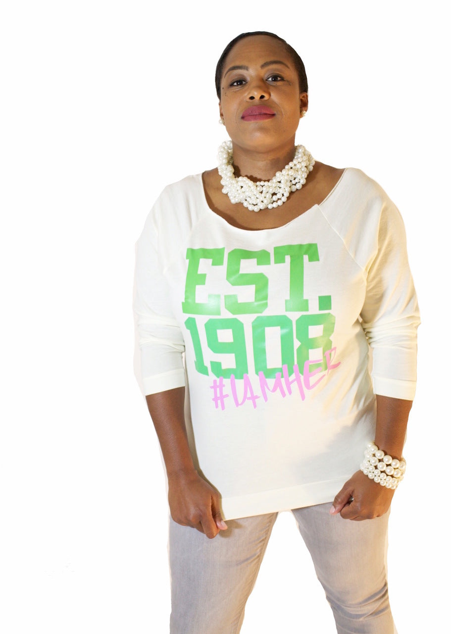 Alpha Kappa Alpha Inspired - EST. 1908 Women's Wideneck Top - I AM HER Apparel, LLC