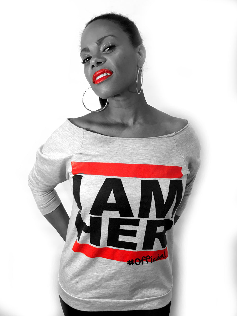Female wearing Gray Women's Wideneck Off Shoulder with 3/4 sleeve for women with saying, I AM HER. For the girl who is unapologetically feminist and believes in girl power.