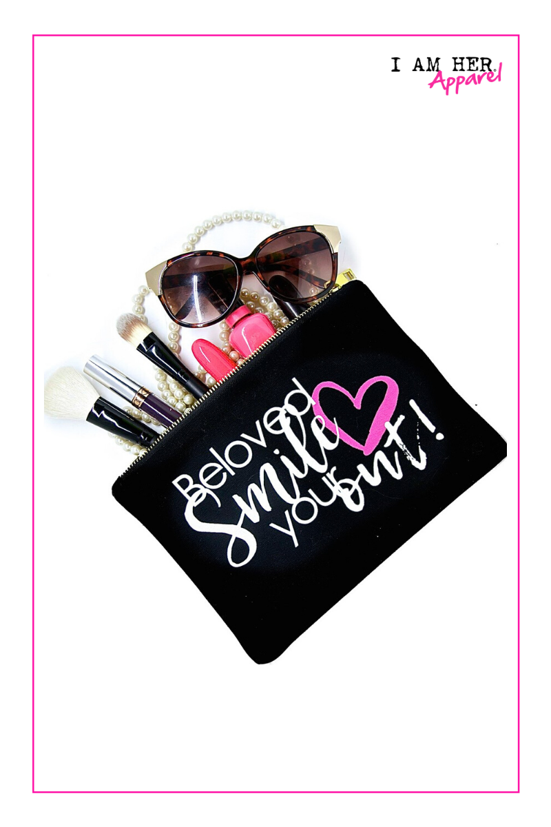Smile Your Heart Out – Makeup Bag - I AM HER Apparel