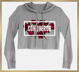 CONQUEROR... Statement Cropped Fleece Hoodie - I AM HER Apparel, LLC