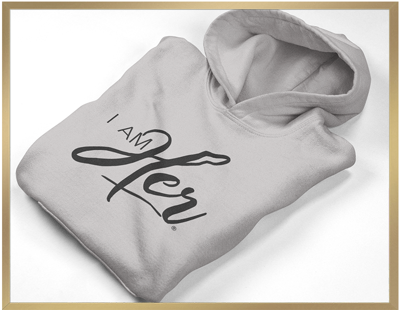 """I AM HER"" Signature Cropped Fleece Hoodie - Gray"