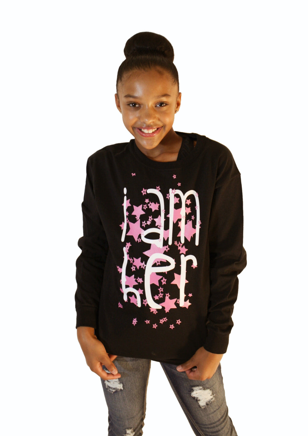 Girl wearing black Longsleeve shirts for kids with saying, I AM HER. Girls fashion designed for her because it is never too early or too late for her to know her value and worth.